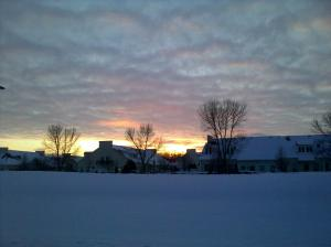 Snowy Sunset in Columbus