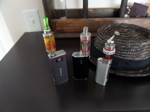 L TO R. KAYFUN LITE PLUS ON MVP2. NEW KANGER SUBTANK PLUS ON ISTICK50W, SUBTANK MINI ON EFAG 23W.